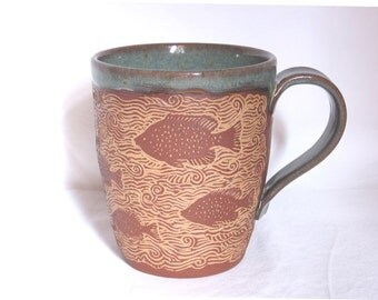 Coffee mug - Hand carved Fish -Larger size