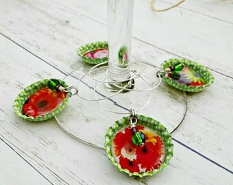 Summer Wine Glass Accessories, Gerber Daisy, Drink Tags, Drink Markers, Table Settings, Wine Themed Gift for Her, Bottle Charms
