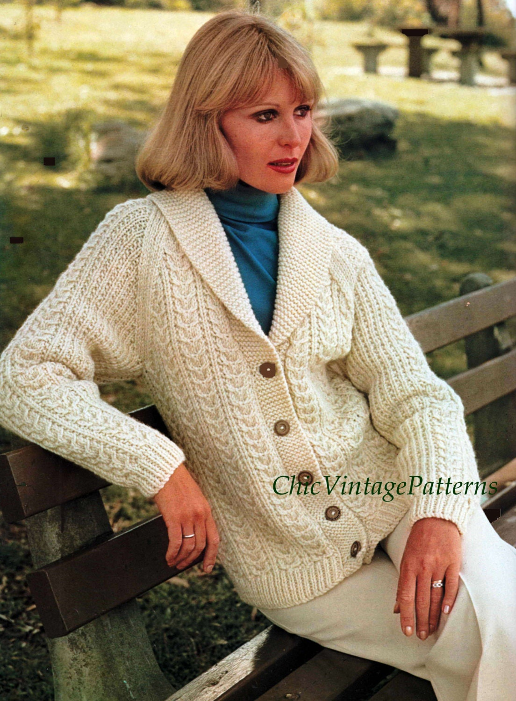 Knitted Cardigan ... Ladies Aran Cardigan ... Cardigan with