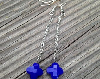 Earrings silver with Pearl blue clover