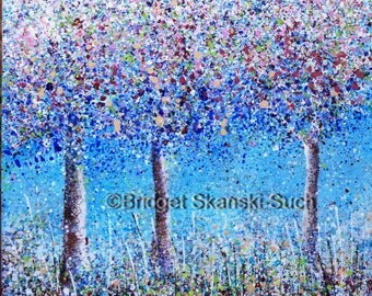Blossom/Limited Edition print/bridget skanski-such/trees/pink/spatter painting/orchard/flowering trees/cherry blossom/impressionist