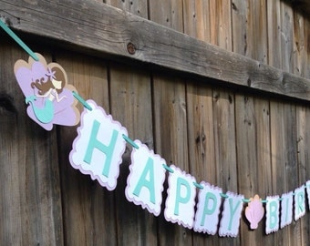 Mermaid Banner, Mermaid Birthday Banner, Happy Birthday Banner | Under The Sea Birthday Banner | Lavender and Aqua