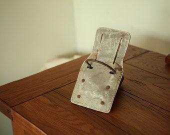 Vintage leather hammer loop for belt - tool belt hammer loop hanger - 1960s - 1970s tool belt hammer loop metal and leather