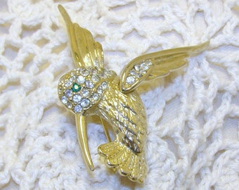 Vintage Gold Tone Hummingbird Brooch With Rhinestones, Bird Brooch, Hummingbird Brooch, Bird Pin, Hummingbird Pin, Hummingbird Jewelry