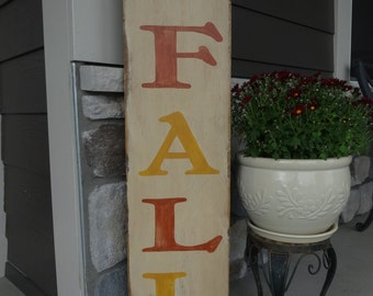 Hello FALL. 10x40 Hand painted wood sign/ Fall decor/ Rustic fall sign/ Fall sign/ Autumn wood sign