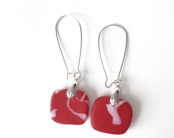 Long red earrings. square earrings. long earrings. Polymer clay earrings. red marble look earrings. gift for her. Red Statement earrings