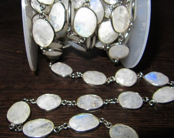 1 Ft Wholesale Blue Flashy Rainbow Moonstone Connector Chain-Natural White Rainbow Bezel Chain-Uneven Shape Briolette 15to22mm,Choose FINISH
