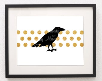 2 Ravens with  Dots  (1 Set)  Printable - Fall  Halloween Upscale Home Decor - JPEG - Instant Download