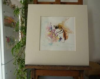 original Watercolour: Bee, bee, flower