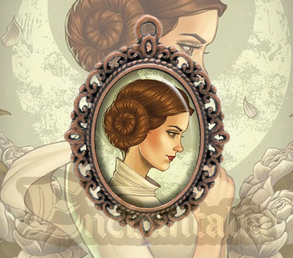 May The 4th Be With You Necklace: Princess Leia Cameo Pendant / Collar / Darth Vader By