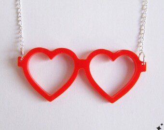 Heart Glasses Necklace - Lolita Geek Glasses Acrylic Necklace