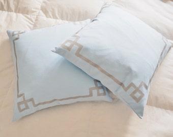 Pillow, Baby Blue,Silver Detail, Square Decorative Pillow Case, Art Deco - Tudor