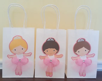 Ballerina favor bags , ballerina goodie bags , ballet goodie bags , 12 ballerina  favor bags