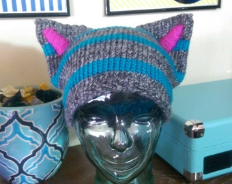 Alice in Wonderland Cheshire Cat Hat, The Cheshie in Burtonesque Tabby Grey and Blue