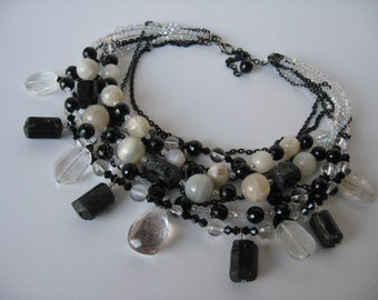 Tourmaline, quartz and moonstone necklace
