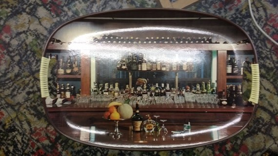 Vintage Oval Tray with Drinks Bar Picture
