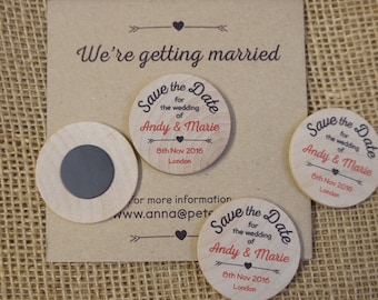 Wooden Round Fridge Magnets - Save the Dates 30x (min order)