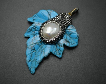 1pc Big Size Blue Synthetic Turquoise Leaf Pendant with Pearl Beads Paved on Surface DIY Jewelry making