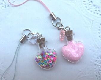 Kawaii Sweet Heart-Shaped Glitter or Sprinkles Cell Phone Charm Zipper Pull Keychain Dust Plug