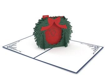 Photo Wreath Pop Up Christmas Card, Wreath Pop Up Card, Christmas Wreath Card, Christmas Photo Card, Custom Photo Card, Seasons Greetings