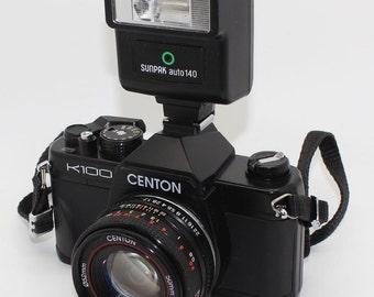 Centon K100 SLR 35mm Camera with 50mm lens, flash & bag – Tested/VGC