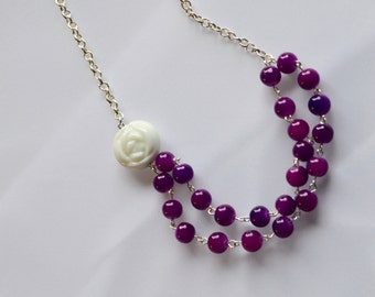 Purple Glass Bead Necklace, White Rose Necklace, Glass Bead Jewelry