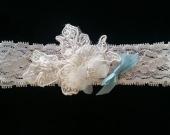 Ivory Aloncon lace with beading garter belt