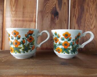 Vintage 70's Floral Mugs Set of 2