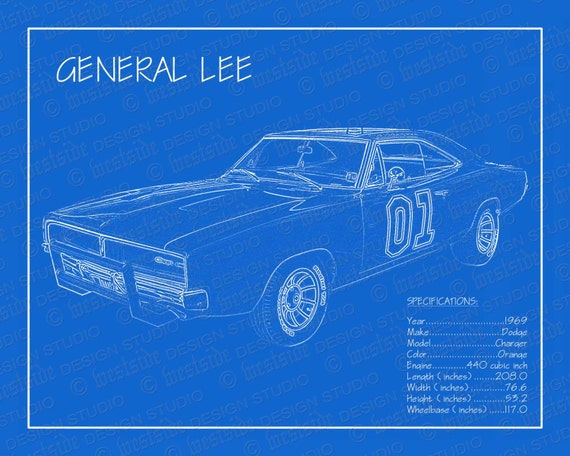 1969 Dodge Charger General Lee Blueprint 8x10