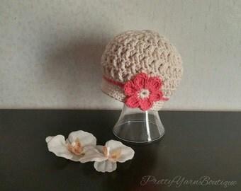 crochet baby hat in off white, baby hat with tangerine flower, crochet baby girl hat, off white baby hat, newborn- 12 months