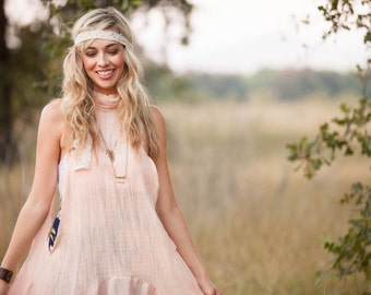 Tunic Bohemian -  Tunic - Blush Cotton Tunic - Lace Wrap