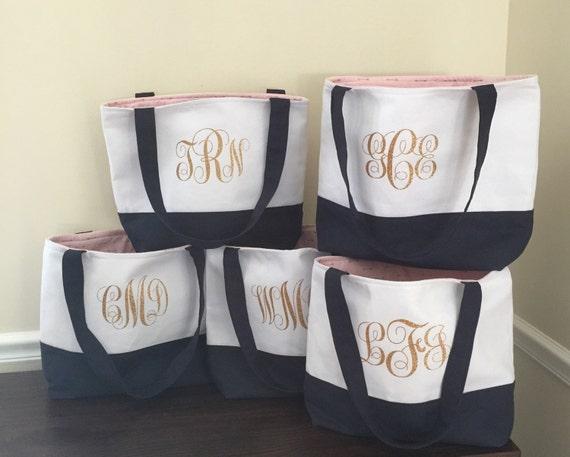 Set of  2 Lined Monogrammed Tote Bag - Bridesmaid Tote Bag - Bridesmaid Bags - Personalized Tote Bags - Bridal Bags - Custom Tote Bags