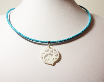 Blue Leather Necklace with Rabbit Lace Mother of Pearl Shell Pendant.