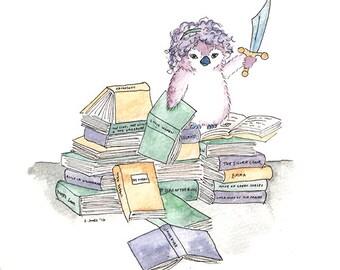 Purple Penguin Nursery Print Books Adventure