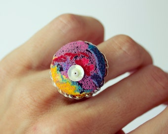Adjustable colorful fabric covered Button Ring