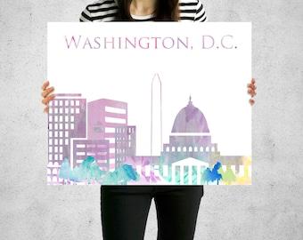 Washington DC Skyline Watercolor Washington Monument Nations Capital Art Poster