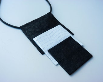 Leather Bib Necklace, Black And White Necklace,Geometrical Necklace