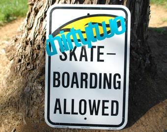 1990s  No skateboarding allowed metal sign. rad!!!!