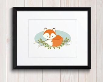 Sweet Baby Fox Woodland Friends Baby Nursery Print