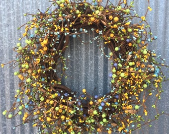 Grapevine Wreath-Pip Berry Wreath- Spring wreath-Easter Wreath-Holiday Wreath-Primitive Wreath-Free Shipping