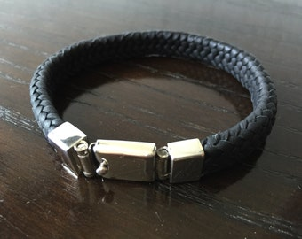 Mens Woven Black Leather Bracelet with .925 Sterling Silver Box Clasp Handmade.