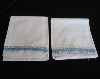 Blue & White Crocheted Vintage Matching Pair of Shabby Cotton Pillowcases