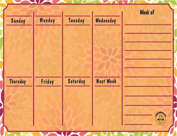 Weekly Refrigerator Calendar : Weekly planner dry erase calendar flor orange