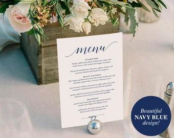 Wedding Menu Template, Wedding Menu Printable, Wedding Menu Cards, Table Menu, Menu Sign, Navy Blue Wedding, PDF Instant Download #BPB320_4B