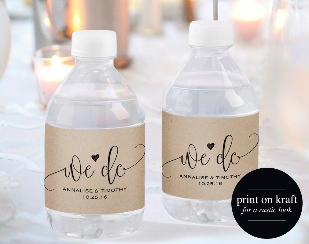 Wedding water bottle label water bottle label printable for How to put labels on water bottles