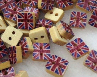 Union Jack U.K Flag Wooden Buttons - Sewing  Event  Wood Scrapbooking Embellishment