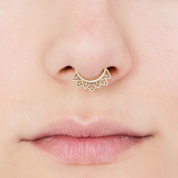 Tribal Septum Ring for pierced nose. septum piercing. brass septum ring. tribal septum ring. tribal septum. gold septum. septum jewelry.