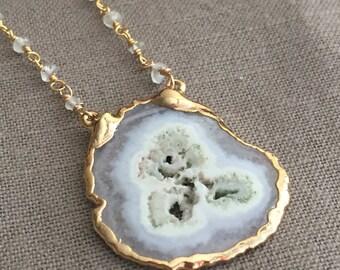 Solar Quartz in Gold// Quartz Pendant Rosary Layering Necklace in Gold