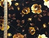 100% Rayon challis Goldish flowers n Black background