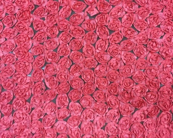 60 in w Tiny roses on mesh Coral Fabric by the yard